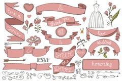 Doodle bridal shower ribbons,border,decor elements Stock Images
