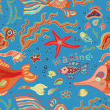 Doodle bright colorful seamless marine pattern. Doodle seamless marine pattern with illustrations of fish, water plants, starfish, bubbles. Bright and colorful Stock Photos