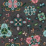 Doodle bright flowers seamless pattern. Doodle bright flowers on dingy backgound seamless pattern Royalty Free Illustration