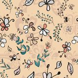 Doodle bright flowers seamless pattern. Doodle bright flowers on peach background seamless pattern Royalty Free Illustration