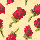 Doodle bright roses seamless pattern Royalty Free Stock Image