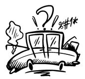 Doodle broken car Royalty Free Stock Photography