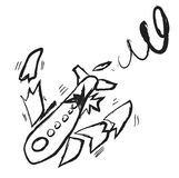 Doodle broken plane Royalty Free Stock Photography