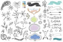 Doodle brunches,budges,ribbons,decor element Stock Photography