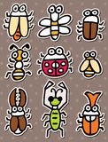 Doodle bug stickers Royalty Free Stock Photo