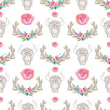 Doodle bull skull and horns with watercolor flowers and feathers Stock Photo