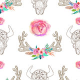 Doodle bull skull and horns with watercolor flowers and feathers Royalty Free Stock Image