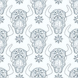 Doodle bull skull, seamless pattern Stock Images