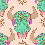 Doodle bull skull, seamless pattern Stock Photography