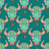 Doodle bull skull, seamless pattern Royalty Free Stock Photos