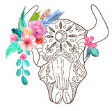 Doodle bull skull with watercolor flowers and feathers Stock Image