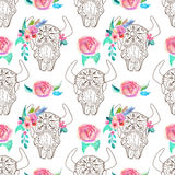 Doodle bull skull with watercolor flowers and feathers, seamless Stock Photography