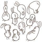 9 doodle bunnies. Vector set of doodle funny bunnies Stock Photo