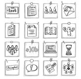 Doodle Business Career Development Elements Set. With human resources management recruitment icons on note papers isolated vector illustration Royalty Free Stock Photos