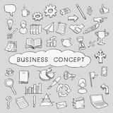 Doodle business concept icons. Doodles in business object and concept icons set. Sketching, hand writing, vector illustration vector illustration