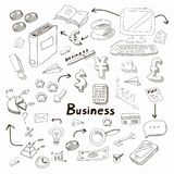 Doodle business diagrams set on blackboard Stock Photos