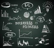 Doodle business diagrams set on blackboard. Vector illustration Royalty Free Stock Photo