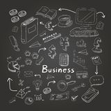 Doodle business diagrams set on blackboard vector Royalty Free Stock Photo