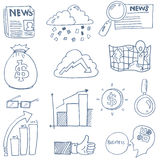 Doodle of business finance object set. Vector illustration Stock Images