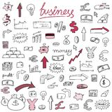 Doodle business. Business financial icons - sketchy doodle style illustration with money, currencies and finance object symbols Royalty Free Stock Images