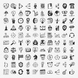 100 doodle business icon royalty free illustration