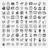 100 doodle business icon. Cartoon vector illustration Royalty Free Stock Photography
