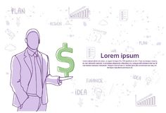 Doodle Business Man Holding Dollar Sign Over Abstract Hand Drawn Background Finance Growth Concept. Vector Illustration Stock Photos