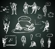 Doodle business people for infographics on Stock Photography