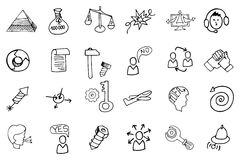 Doodle business seo icons.Outline sketches Stock Photography