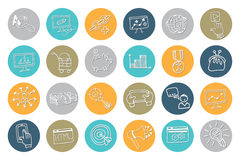 Doodle business seo icons .Outline sketchy Stock Photography