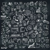 Doodle business seo icons set on Chalkboard Royalty Free Stock Image