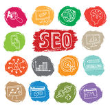 Doodle business seo icons set on colored spot Royalty Free Stock Images