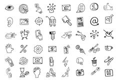 Doodle business seo  icons set.Outline sketchy Stock Photo