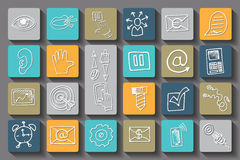 Doodle business seo long shadow icons .Outline Royalty Free Stock Photos