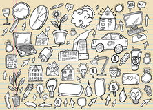 Doodle Business and Technology Set Stock Photos