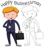 Doodle businessman character in suit with briefcase stock illustration