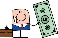 Doodle businessman holding dollar Royalty Free Stock Photography