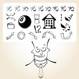 Doodle businessman with icon thoughts Royalty Free Stock Image