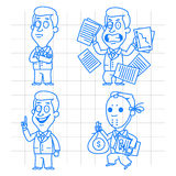 Doodle businessman idea and anger Royalty Free Stock Photos