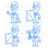 Doodle businessman success and failure Royalty Free Stock Image