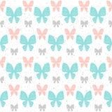 Doodle butterfly seamless background. Grey, blue and pink doodle. Butterfly. Abstract seamless pattern for card, invitation, album, scrapbook, holiday wrapping Royalty Free Stock Photography