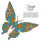 Doodle Zentangl drawing. Holiday card. Butterfly. Doodle butterfly. Zentangl drawing. Holiday card. Tenderness of spring. Blue and orange Royalty Free Stock Images