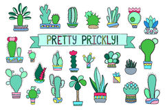 Free Doodle Cactus And Succulent  Clipart. Potted Cactus And Succulents Icons. Royalty Free Stock Photos - 92135698