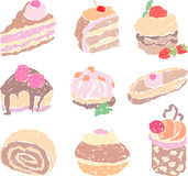 Doodle cakes Royalty Free Stock Photo