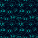 Doodle calavera sugar skulls in blue, halloween or dia de muertos seamless pattern, vector. Background Royalty Free Stock Photo