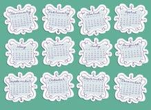 2014 doodle calendar grid. In blue royalty free illustration