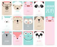 Doodle calendar set 2019 with bear,pig,panda,sheep,cat,owl,fox,fog,koala for children.Can be used for printable graphic vector illustration