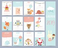Doodle calendar set 2019 with Santa Claus;christmas tree, bear. Squirrel,sloth,fox,owl,llama,monkey,rabbit,flamingo for children.Can be used for printable royalty free illustration