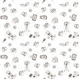 Doodle camera seamless pattern. Doddle various camera set for business and education. Wrapping paper Stock Photos