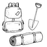 Doodle camping set  illustration. Doodle camping equipment set hand drawn black and white  illustration Royalty Free Stock Images